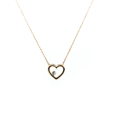 Heart Pendant With a Diamond In 10ct Rose Gold