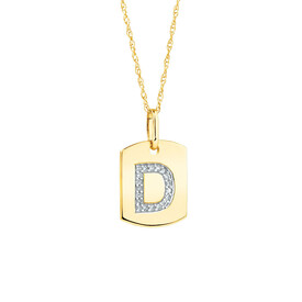 """D"" Initial Rectangular Pendant With Diamonds In 10ct Yellow Gold"