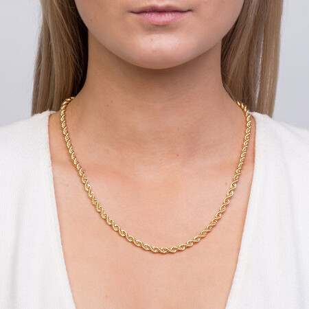 "50cm (20"") Hollow Rope Chain in 10ct Yellow Gold"