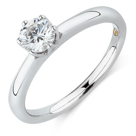 Whitefire Solitaire Engagement Ring with a 1/2 Carat TW Diamond in 18ct White & 22ct Yellow Gold
