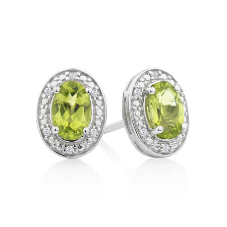 Halo Earrings with Peridot and 0.04 Carat TW of Diamonds in Sterling Silver