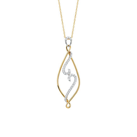 Pendant with 0.16 Carat TW of Diamonds in 10ct Yellow Gold