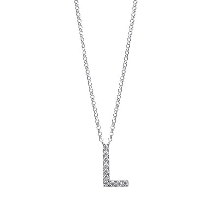 """L"" Initial necklace with 0.10 Carat TW of Diamonds in 10ct White Gold"
