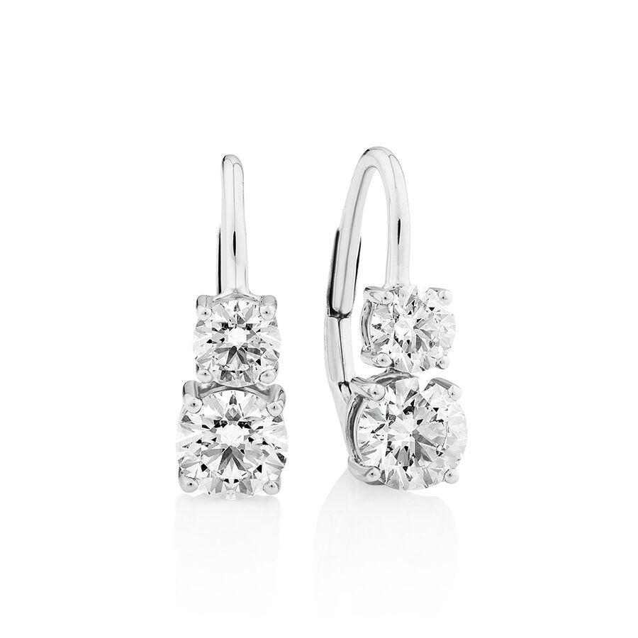 Laboratory-Created 1.50 Carat TW Diamond Drop Earrings in 10ct White Gold