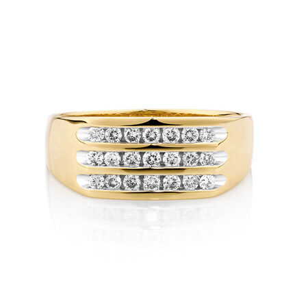 Men's Channel Set Ring in 10ct Yellow Gold With 1/2 Carat TW of Diamonds