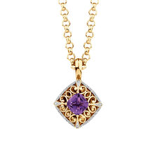 Enhancer with Amethyst & 0.15 Carat TW of Diamonds in 10ct Yellow Gold