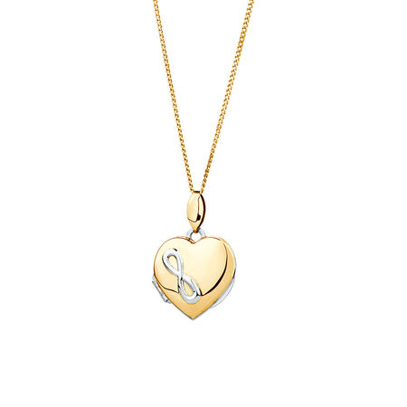 Infinity Heart Locket in 10ct Yellow Gold & Sterling Silver