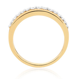 Wedding Band with 0.26 Carat TW of Diamonds in 10ct Yellow Gold