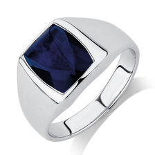 Men's Ring with Blue Spinel in Sterling Silver