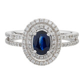 Online Exclusive - Ring with 0.57 Carat TW of Diamonds & Sapphire in 14ct White Gold