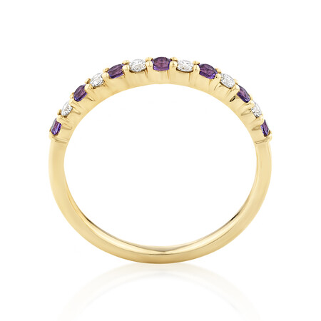 Stacker Ring with Amethyst & 0.15 Carat TW of Diamonds in 10ct Yellow Gold
