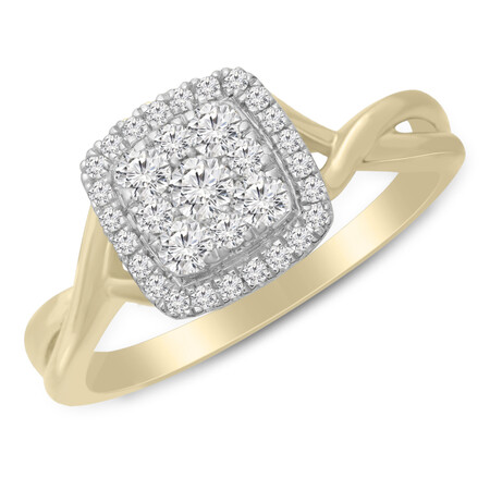 Twist Ring with 0.50 Carat TW of Diamonds in 10ct Yellow & White Gold