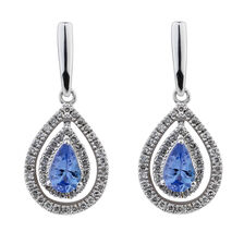Online Exclusive - Pear Earrings with 1/5 Carat TW of Diamonds & Tanzanite in 10ct White Gold