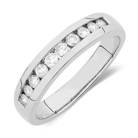 Men's Wedding Band  with 1/2 Carat TW of Diamonds in 14ct White Gold