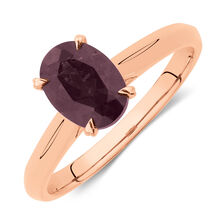 Oval Ring with Rhodolite Garnet in 10ct Rose Gold
