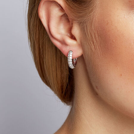 Hoop Earrings with Cubic Zirconia in Sterling Silver