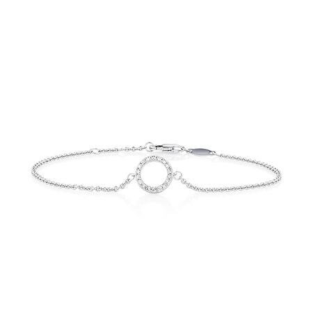 "19cm (7"") Bracelet with 0.16 Carat TW of Diamonds in 10ct White Gold"