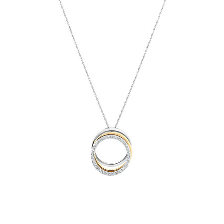 3 Layered Pendant with Diamonds in 10ct Yellow Gold & Sterling Silver