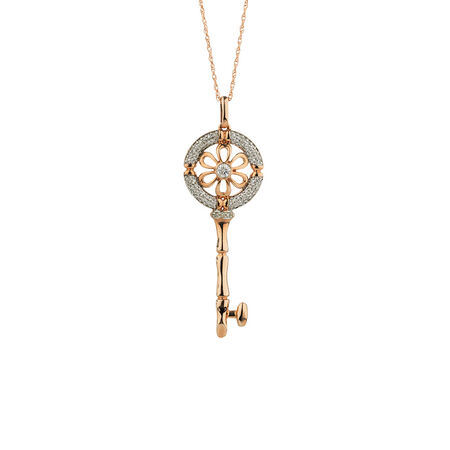 Online Exclusive - Daisy Key Pendant with Diamonds in 10ct Rose Gold