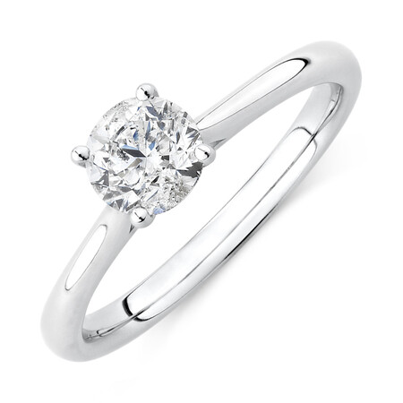 Evermore Certified Solitaire Engagement Ring with 1 Carat TW Diamond in 14ct White Gold