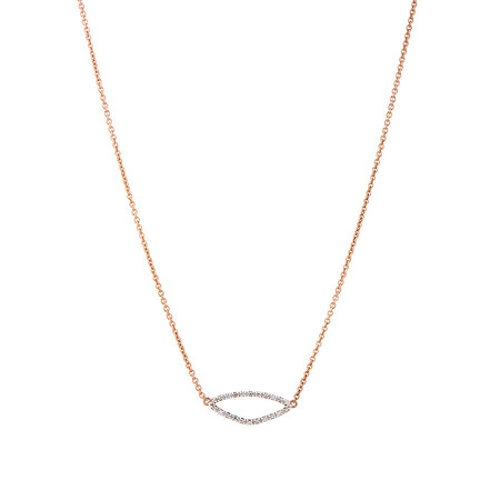 Organic Shape Pendant with Diamond in 10ct Rose Gold