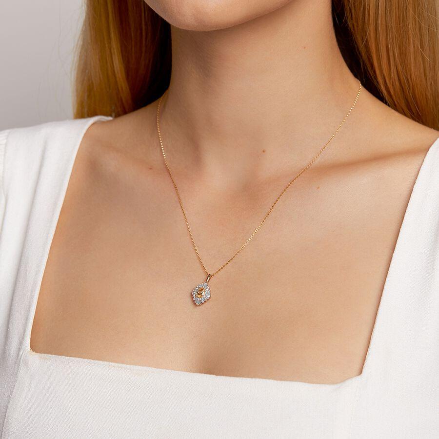 Pendant with Morganite & 0.50 Carat TW Of Diamonds in 10ct Rose Gold