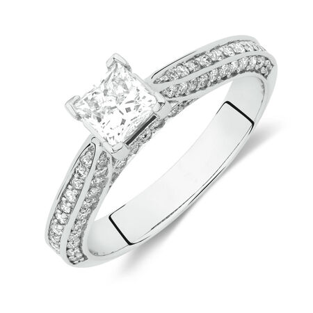 Online Exclusive - Side Accent Ring with 1 Carat TW of Diamonds in 18ct White Gold