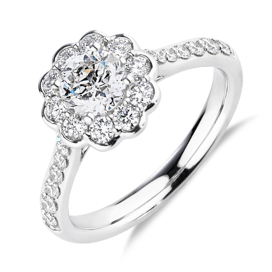 Southern Star Engagement Ring with 1.35 Carat TW of Diamonds in 14ct White Gold