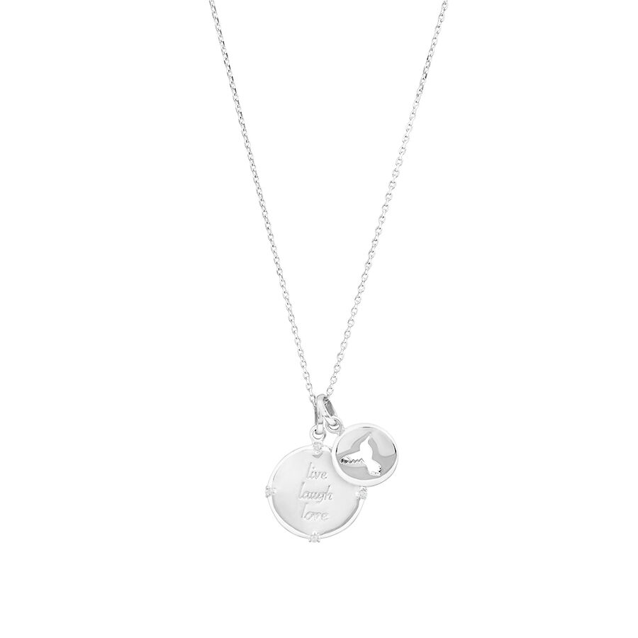 Two Engraved Pendants in Cubic Zirconia & Sterling Silver