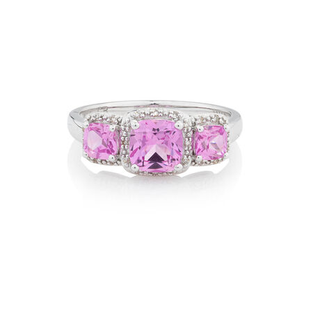 Online Exclusive - Ring with Diamonds & Created Pink Sapphire in 10ct White Gold