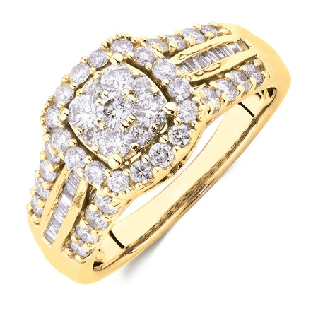 Engagement Ring with 1 Carat TW of Diamonds in 10ct Yellow Gold
