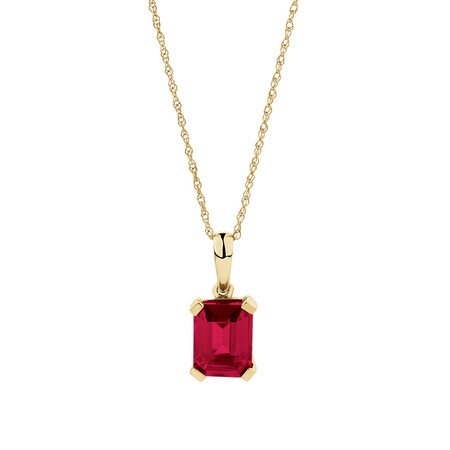 Emerald Cut Pendant with Created Ruby in 10ct Yellow Gold