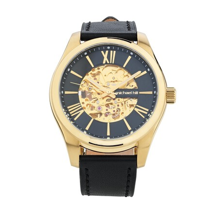 Michael Hill Automatic Skeleton Watch In Gold Tone Stainless Steel And Leather
