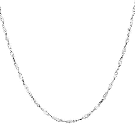 "50cm (20"") Singapore Chain in 10ct White Gold"