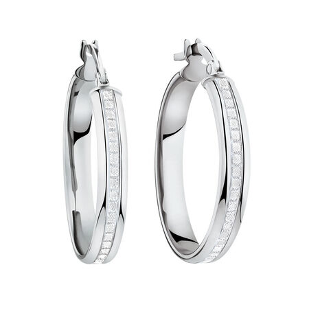 Glitter Hoop Earrings in 10ct White Gold
