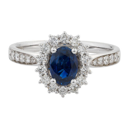 Online Exclusive - Ring with 1/2 Carat TW of Diamonds & Sapphire in 14ct White Gold