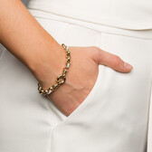 "19cm (7.5"") Belcher Bracelet with Cubic Zirconias in 10ct Yellow & White Gold"