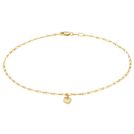 "27cm (11"") Heart Anklet in 10ct Yellow Gold"