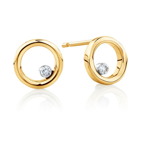 Floating Diamond Circle Earrings with Diamonds in 10ct Yellow Gold