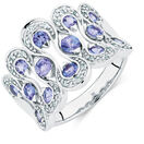 Ring with Tanzanite & Diamonds in 10ct White Gold