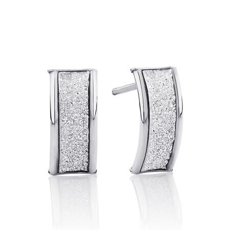 Glitter Stud Earrings in 10ct White Gold