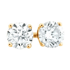 Stud Earrings with 1/2 Carat TW of Diamonds in 18ct Yellow Gold