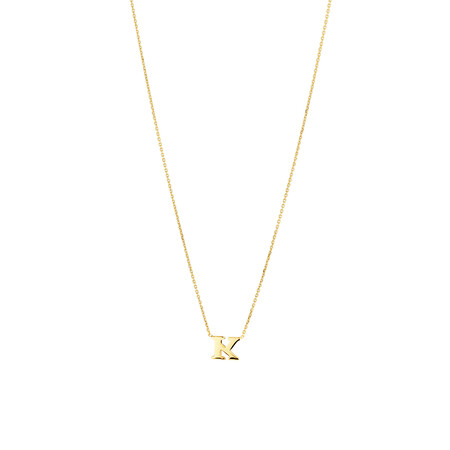 """K"" Initial Necklace in 10ct Yellow Gold"