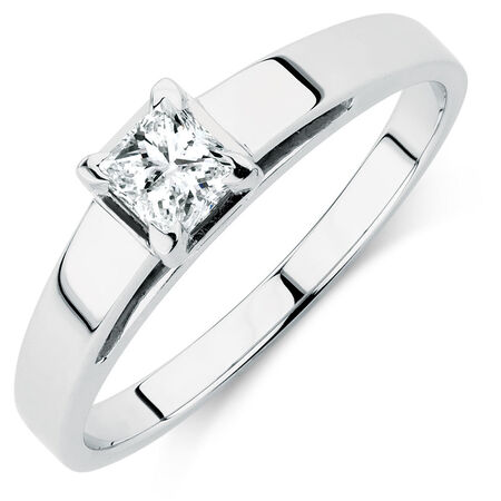 Solitaire Engagement Ring with a 1/2 Carat Diamond in 14ct White Gold
