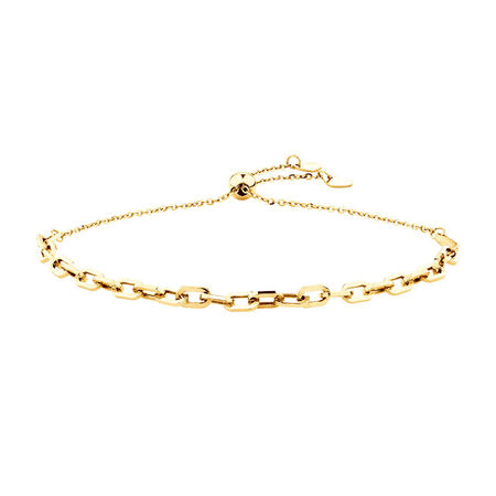 Adjustable Bolo Bracelet In 10ct Yellow Gold