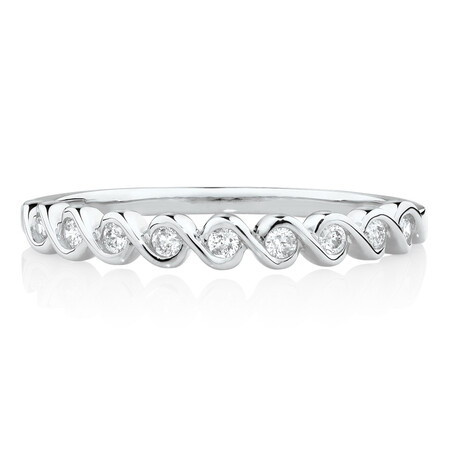 Fancy Stacker Ring with 0.12 Carat TW of Diamonds in 10ct White Gold