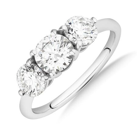 Laboratory-Created 1.70 Carat Oval Three Stone Diamond Ring In 14ct White Gold