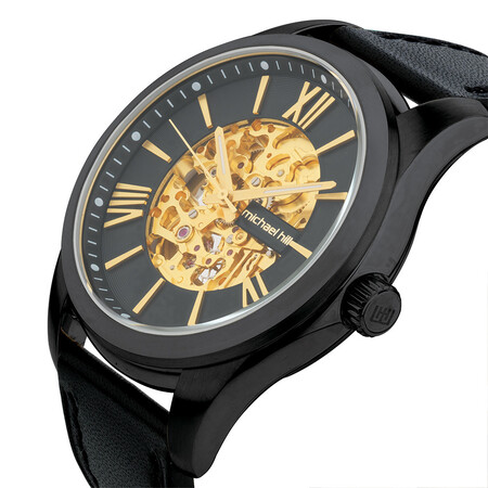 Men's Watch in Black Tone Stainless Steel and Leather