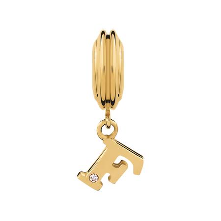 Diamond Set & 10ct Yellow Gold 'F' Charm