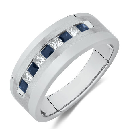 Men's Ring with 0.30 Carat TW of Diamonds & Sapphire in 10ct White Gold